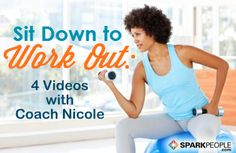 Seated Workout Videos (includes cardio, arms, core, leg toning and more!) Awesome for desk jockeys, busy parents at home, and even people with mobility challenges! | via @SparkPeople #fitness #workout #exercise