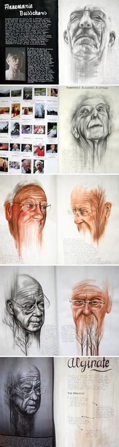 A Level Art portraiture development