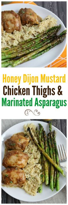 Honey Dijon Mustard Baked Chicken Thighs with Honey Mustard Grilled Asparagus - an easy meal your family will love.