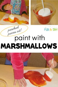 Try this during a preschool camping theme - paint with marshmallows! It's a fun process art activity that your kids are sure to love. Summer Preschool Activities, Early Learning Activities, Preschool Lesson Plans, Preschool Art, Activities For Kids, Toddler Crafts, Crafts For Kids, Easy Arts And Crafts, Classroom Crafts