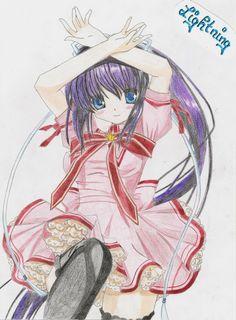 Konohana Lucia aus Rewrite Anime, Zeichnung, Fanart, Anime zeichnen, Fanart mit Buntstift