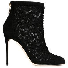 Dolce & Gabbana Lace and Suede Ankle Boots ($520) ❤ liked on Polyvore featuring shoes, boots, ankle booties, heels, booties, black, high heel stilettos, black heeled boots, high heel ankle booties and black suede bootie