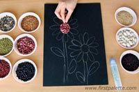 Step by step seed mosaic tutorial for kids