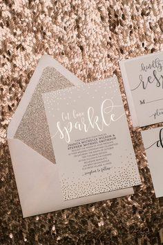WHITNEY Glitter Package, rose gold foil, rose gold glitter, elegant blush and black wedding invitation