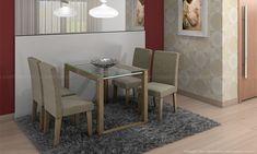Conjunto para Sala de Jantar com Mesa com tampo de vidro e 4 Cadeiras Nogueira/Linhão Musgo – Cimol « Ofertas da semana (: Tv's – Smartphones- Notebooks- Móveis
