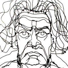 Beethoven. Wire art by Martin Senn.