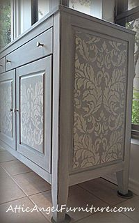 Small and Large Acanthus Damask Stencil on Buffet by Attic Angel. Lovely.