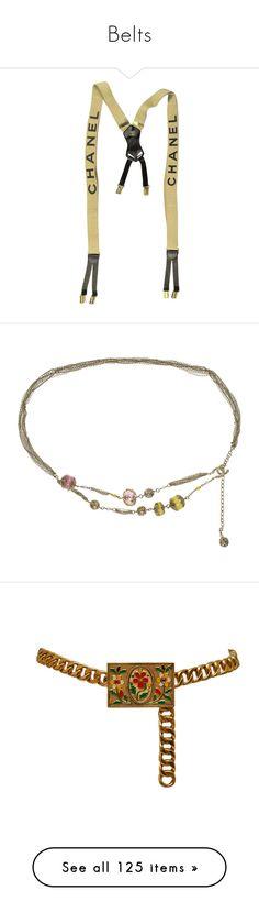 """Belts"" by irelandbbb ❤ liked on Polyvore featuring accessories, belts, filler, chanel belt, camel belt, chanel, suspenders, flower belt, round belt and chain belts"