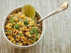Esquites (Warm Mexican Corn Salad). You can adapt the ingredients for elotes as well. Mmmm . . . grilled corn . . .