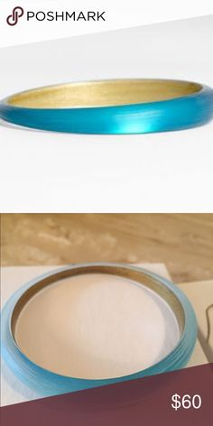 Turquoise Alexis Bittar Bangle Like new Lucite tapered enamel bracelet. Color is Montana Blue. Currently selling at Nordstrom. Selling matching drop earrings. Bundle for 15% off! Alexis Bittar Jewelry Bracelets