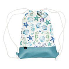 Aquarell Beach City Bag with Leatherette  #citybag #turnbeutel #leather #leder #beach #strand #shell #muschel #starfish #seestern #seahorse #seepferdchen #sport #forsports #trend #fashion #mode #blue #green #blau #grün #ppd #paperproductsdesign