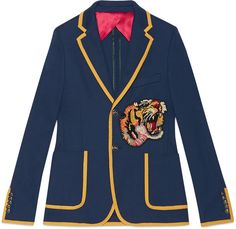 Cotton jersey jacket with embroidery