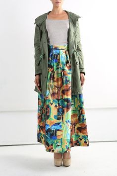 Beautiful colors in this skirt! I have multiple army green jackets and vests.