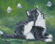 Tuxedo Painting - Tuxedo Kitten by Lee Ann Shepard