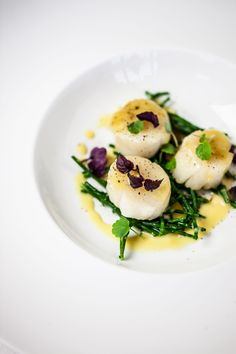 Unique and Creative Scallops with salicornia and saffron sauce Pureed Food Recipes, Fish Recipes, Healthy Recipes, I Want Food, Love Food, Coquille St Jacques, Fancy Dinner Recipes, Seafood Appetizers, Fish Dishes