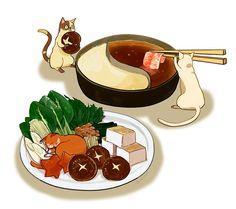 Набрёл на художника, который рисует исключительно еду и котиков. Самое то сочетание.
