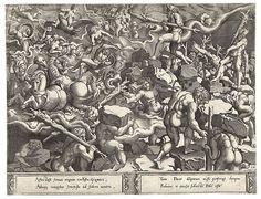 Opstand van de Giants afdruk Maker: Cornelis Bos (Nederlanse, Hertogenbosch ca. 1510 -voor 1566 Groningen?) Ontwerper: Pieter Coecke van Aelst (Nederlanse, Aelst 1502-1550 Brussel) Datum: ca. 1537 - 1555 Cultuur: Nederlanse, Brussel Medium: Graveren, alleen bekend staat, gemaakt door Cornelis Bos na het tekenen van Pieter Coecke van Aelst Afmetingen: Algemeen: 12 1/2 × 16 7/16 in (31,8 x 41,7 cm). Indeling: Prints Credit Line: Rijksmuseum. © Collection Rijksprentenkabinet, Rijksmuseum…