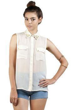 Rounded Stud Collar Blouse