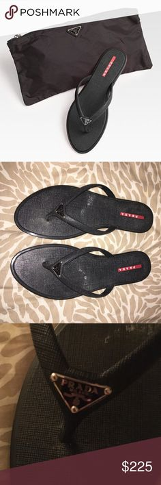 💯 PRADA leather flip flops with bag On the fence about selling but wanted to post to see what the interest was. Worn once. New leather PRADA flip flops with storage zip nylon bag. Prada Shoes Sandals