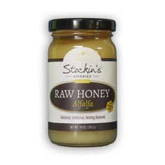 10 oz. Raw honey from alfalfa presents a very mild sweet honey with live enzymes for health benefits. Produced in Canada but packed in Strasburg PA.
