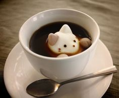 Too cute to eat? Marshmallow Cats Float and Dissolve Inside Coffee Cups