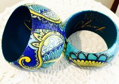 Altered wooden bangles make great teacher gifts