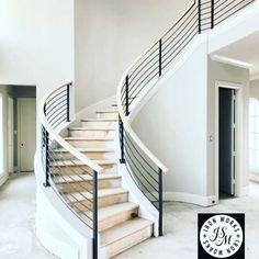 New Construction stairsdesign stairs structuraldesign construction architecturedesigns architecturedaily contemporaryhomes minimalism decor jsmironworks is part of Staircase railing design - Staircase Railing Design, Interior Stair Railing, Staircase Handrail, Staircase Remodel, Stair Decor, Curved Staircase, Cable Stair Railing, Staircase Interior Design, Staircase Decoration
