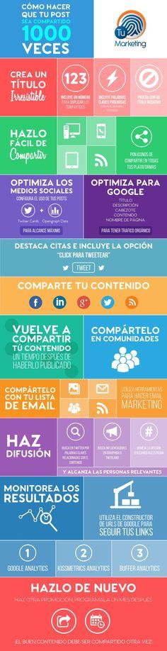 Una genial infografía que nos enseña trucos para lograr que nuestro post se comparta de forma masiva. Ideal para los que practican marketing de contenidos.