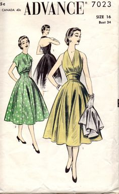 Simplicity 7023 1950s Plunging V Neck Halter Dress and Cropped Jacket womens vintage sewing pattern by mbchills