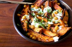 roasted yams and chickpeas with yogurt
