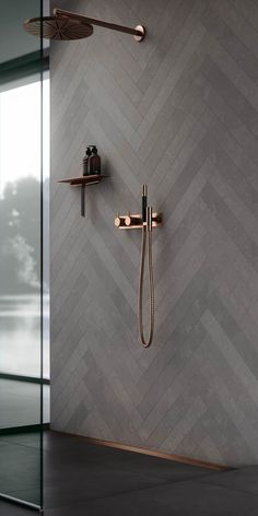 modern bathroom design, neutral modern master bathroom decor, gray bathroom design with walk in tile shower wiht herringbone tile shower tile and gold shower head, masculine bathroom design Diy Bathroom, Modern Master Bathroom, Modern Bathroom Design, Bathroom Flooring, Bathroom Interior Design, Bathroom Ideas, Copper Bathroom, Bathroom Remodeling, Shower Ideas
