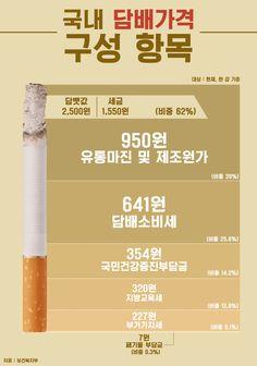 담배 한 갑, 제조원가 제외 '세금만 62%' [인포그래픽] #cigarette / #Infographic ⓒ 비주얼다이브 무단 복사·전재·재배포 금지