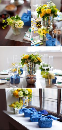 Blue and yellow wedding, great for spring, even better for summer, so playful!