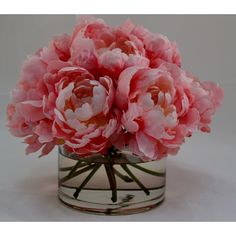 The French Bee Pink Peonies in Glass Cylinder
