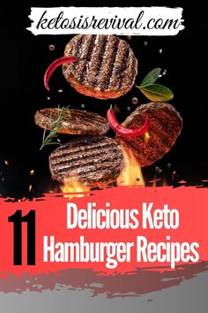 We've gathered the most delicious keto hamburger recipes there is! They're high in protein and fat, but low in carbs. It's easy to make a tasty dinner in no time. Reveal the keto hamburger recipes on this pin! #ketodietrecipe #ketosis #ketodiet #ketohamburgers #ketodinner #lowcarbdiet