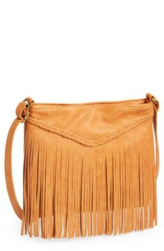 Weekend favorite = Faux leather fringe crossbody