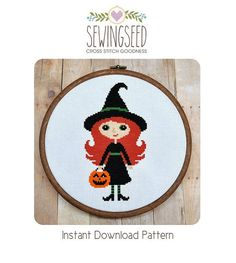 Witch Cross Stitch Pattern Instant Download por Sewingseed en Etsy