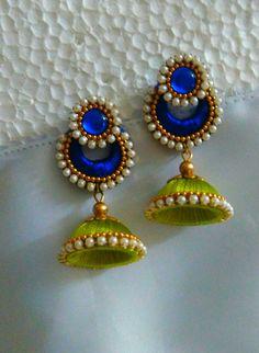 Blue and Green Silk thread earrings