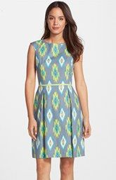 Tahari Ikat Linen Blend Fit & Flare Dress (Regular & Petite)