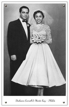 Gorgeous African American Women - 1950s vintage dress, lace and circle skirt, could not be more adorable! #vintage  (The caption on the actual photo shows that this is Diahann Carrol and her first husband Monte Kay...R)