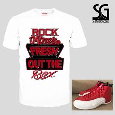 c28b8de9e70f84 fresh-out-the-box-t-shirt-to-match-jordan-12-gym-red-4.gif (1000×1000)