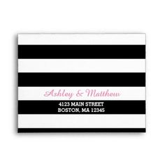 Black & White Stripes Monogram | Pink Lining RSVP Envelope