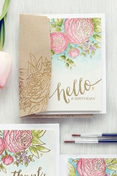 WPlus9 | Floral Cards Trio - Easy Watercolor Ranunculus using Daniel Smith Watercolors. Video Tutorial