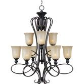 Found it at Wayfair - Infinity 9 Light Chandelier Put this in our 2 story foyer.  Looks great.  Great quality, looks great from inside including on the landing that overlooks it and from outside at night!