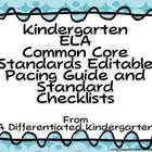 Kindergarten Common Core Editable Pacing Guide and Standard Checklists Common Core Language Arts, Common Core Ela, Common Core Standards, Student Teaching, Teaching Resources, Teaching Ideas, Common Core Checklist, School Classroom, Classroom Ideas