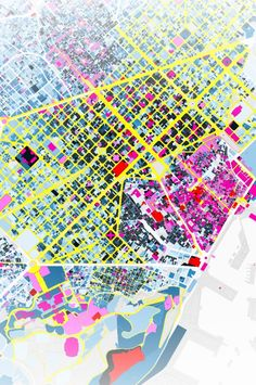 "I really enjoyed the color of the roads and different buildings ""Big Time BCN"" - an interactive map of the architectural heritage of Barcelona, by the design firm km/s"" Map Diagram, Map Quilt, Landscape And Urbanism, Urban Analysis, Interactive Map, Architecture Drawings, Map Design, Urban Planning, Remote Sensing"