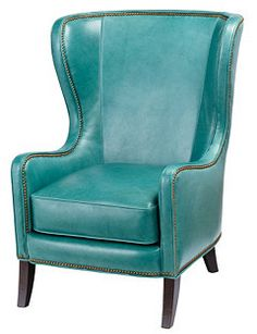 Dempsey Leather Wing Chair, Turquoise