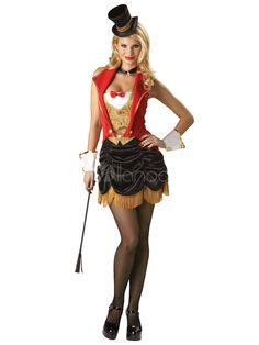 Attrayant rouge fantaisie sexy costume cirque en polyester