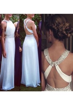Formal Dress Prom Dress White O Neck Floor Length Chiffon A Line Prom Evening Dress