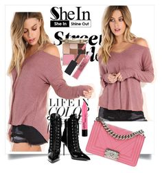 """Pink Waffle Knit Cold Shoulder T-shirt"" by fashionb-784 ❤ liked on Polyvore featuring Giuseppe Zanotti, Chanel, Stila and Maybelline"